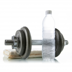 """Dumbbell With Water And Towel"" by Naypong"